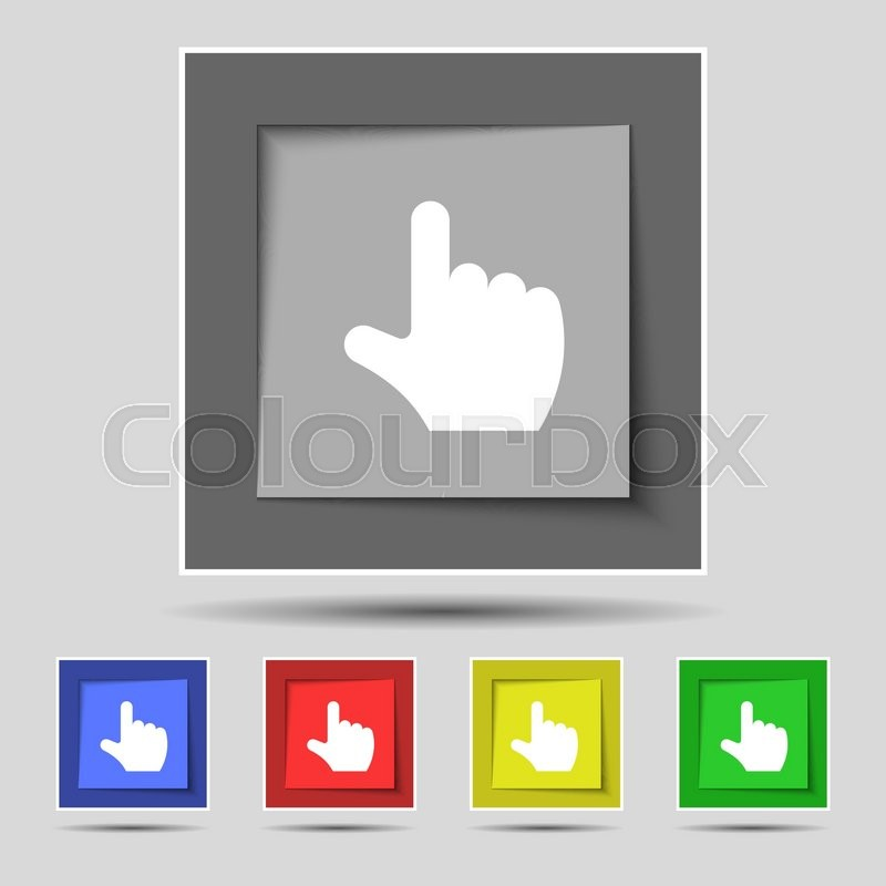 pointing hand icon sign on the stock vector colourbox colourbox