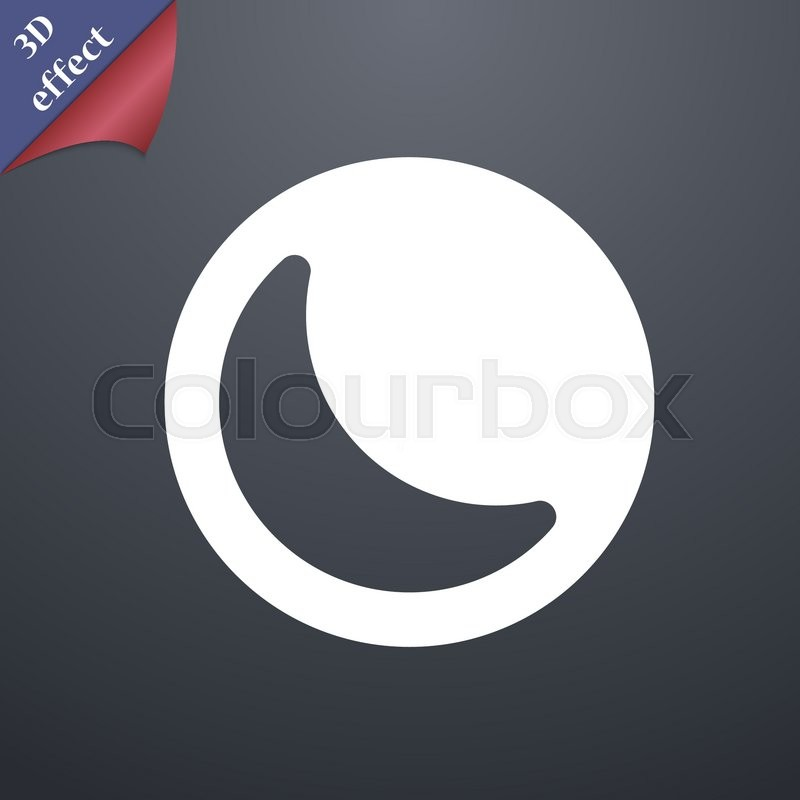 Moon Icon Symbol 3d Style Trendy Modern Design With Space For