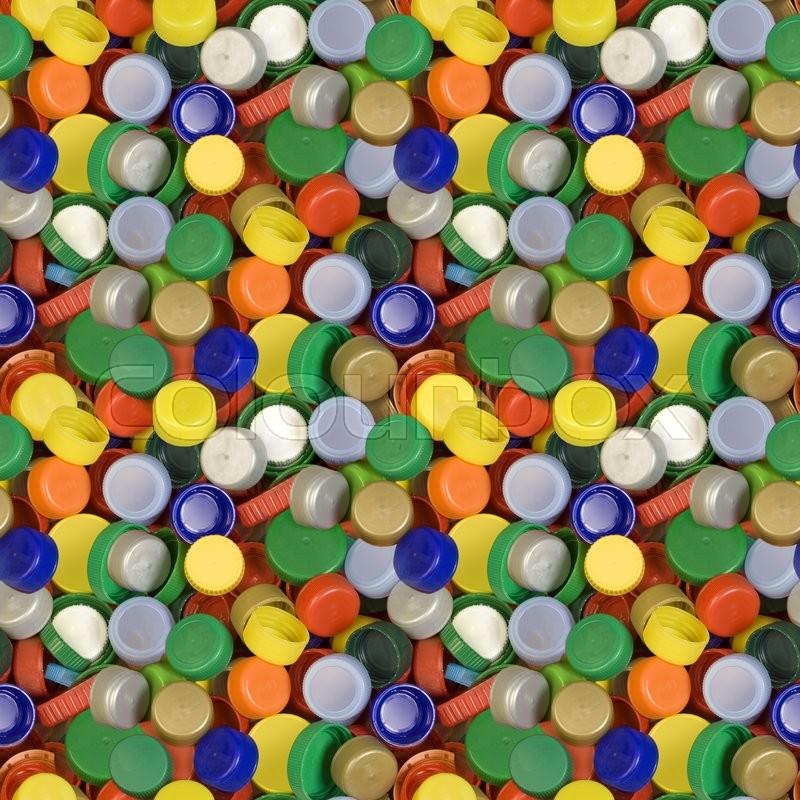 Plastic Bottle Cap Seamless Background Pattern, stock photo