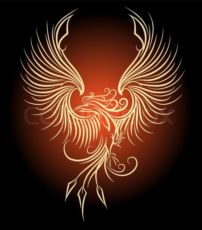 illustration of flying phoenix bird as symbol of revival stock