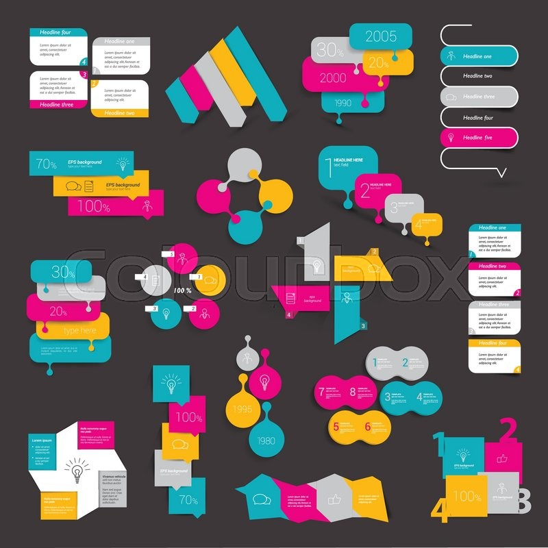 Collections Of Info Graphics Flat Design Diagrams Various Color Schemes Boxes Speech Bubbles For Print Or Web Vector Illustration