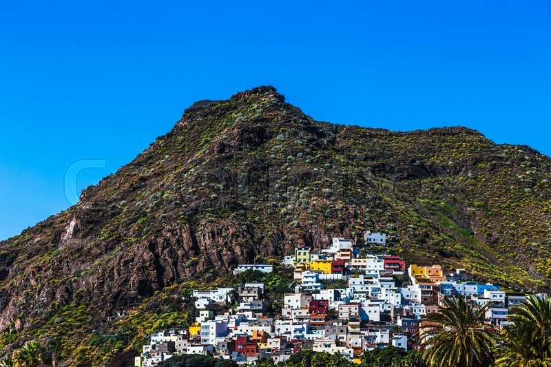 Small village buildings in mountains on Tenerife Canary island, Spain, stock photo