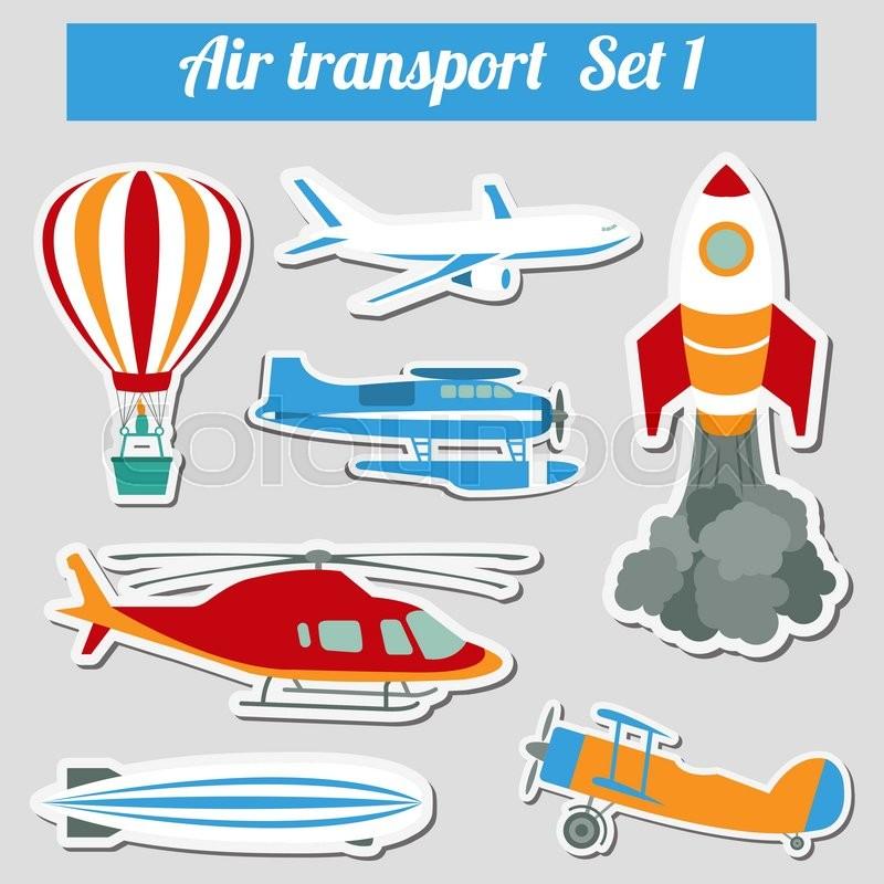 Public transportation, air transportation. Icon set. Vector illustration, vector