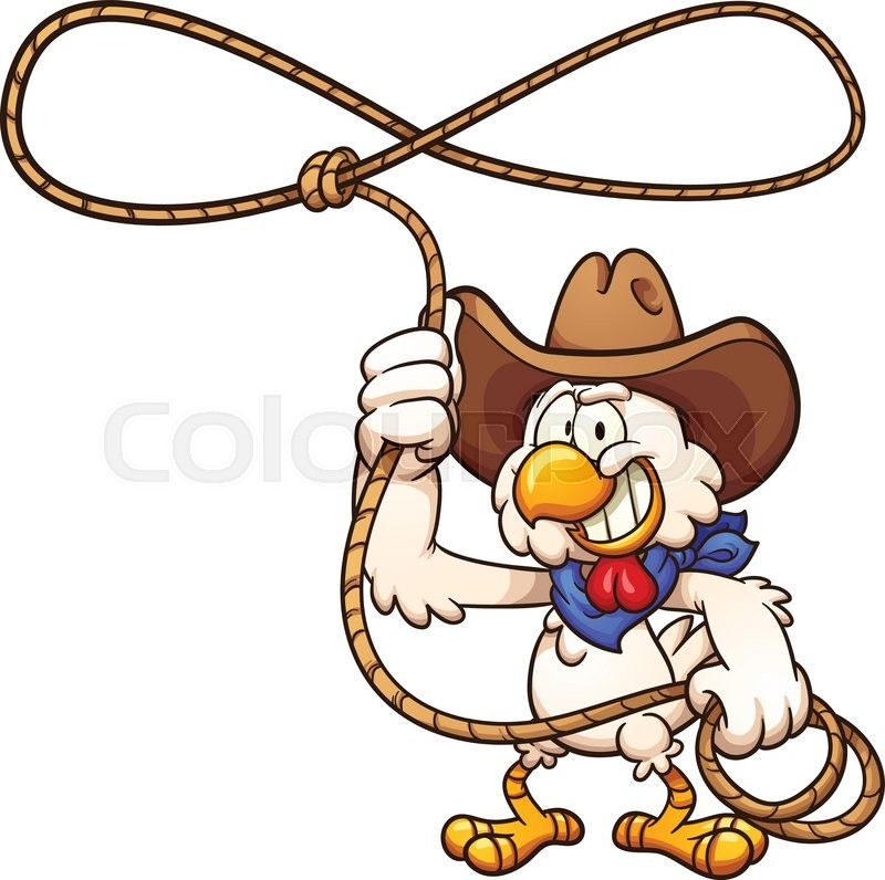 cowboy chicken with lasso vector clip art illustration with simple rh colourbox com cowgirl lasso clipart clipart lasso rope