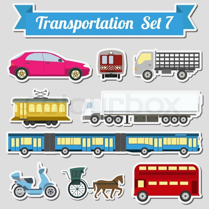 Set of all types of transport icon for creating your own infographics or maps. Water, road, urban, air, cargo, public and ground transportation set. Vector illustration, vector
