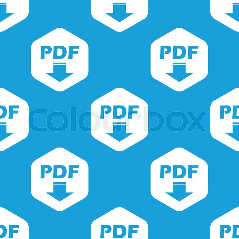 Blue Text Pdf With Download Symbol In White Hexagon Repeated On