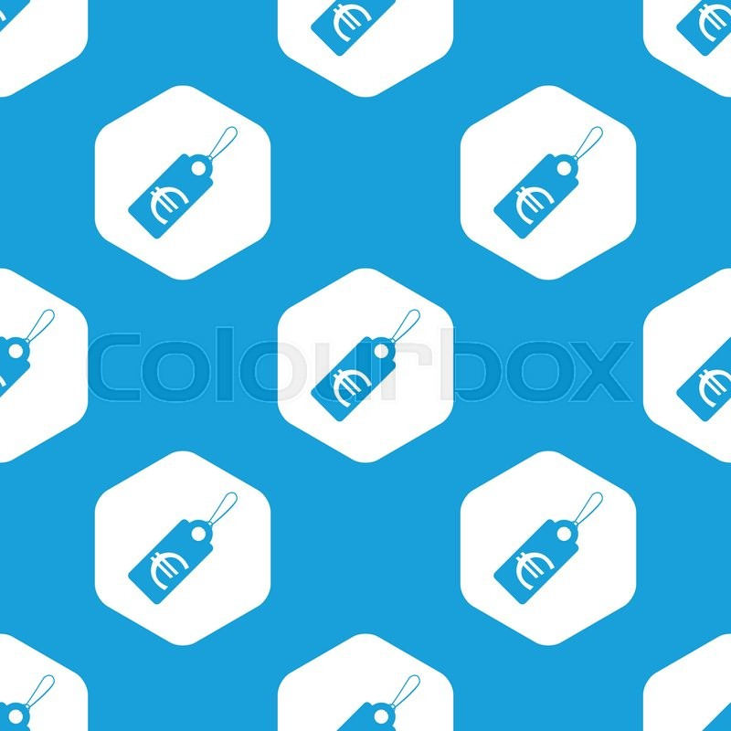 Blue Image Of String Tag With Euro Symbol In White Hexagon Repeated