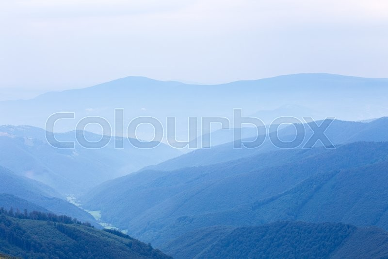 Blue forest hills of the Carpatian mountains , stock photo