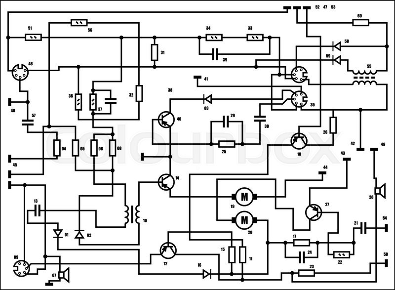 Electric scheme - fantasy technology vector background | Stock ...