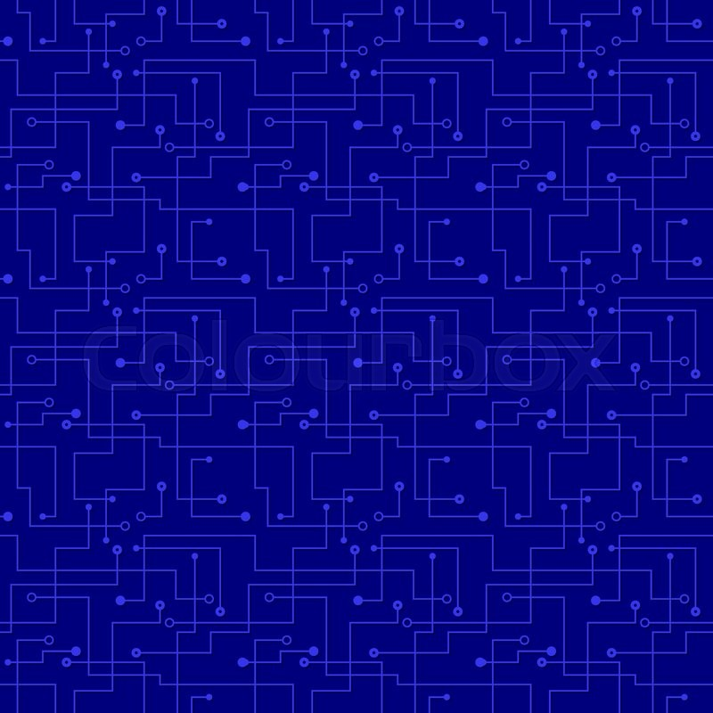 Vector blue seamless pattern - futuristic electronic circuit board ...