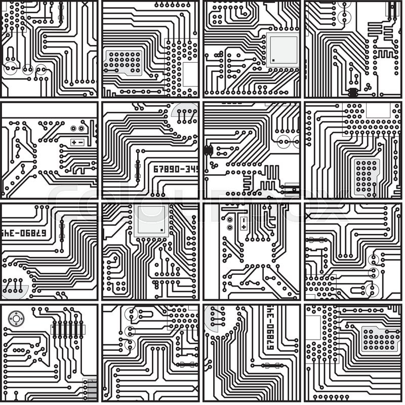 Abstract computer circuit board pattern - vector seamless ...