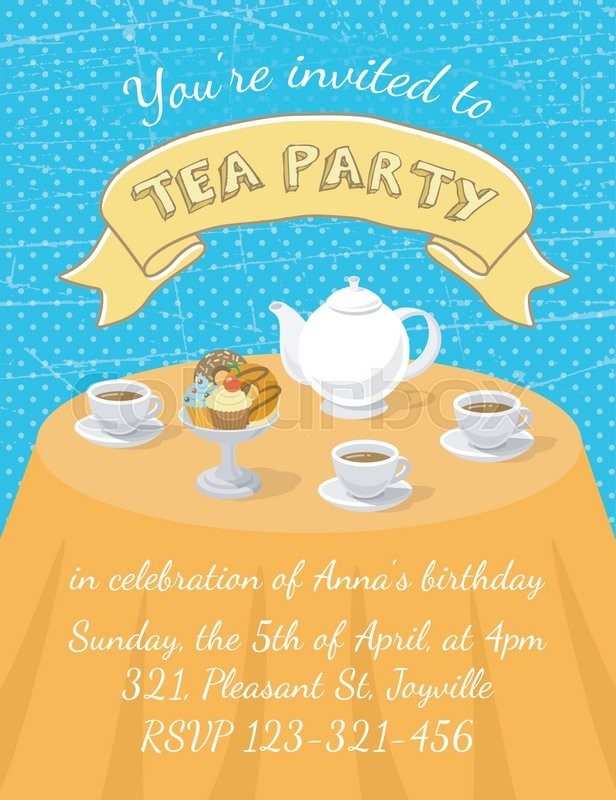 Modern flat vector tea party invitation card with tea cups teapot modern flat vector tea party invitation card with tea cups teapot and dessert on the table with an inscription and ribbon invitation card template for stopboris Images
