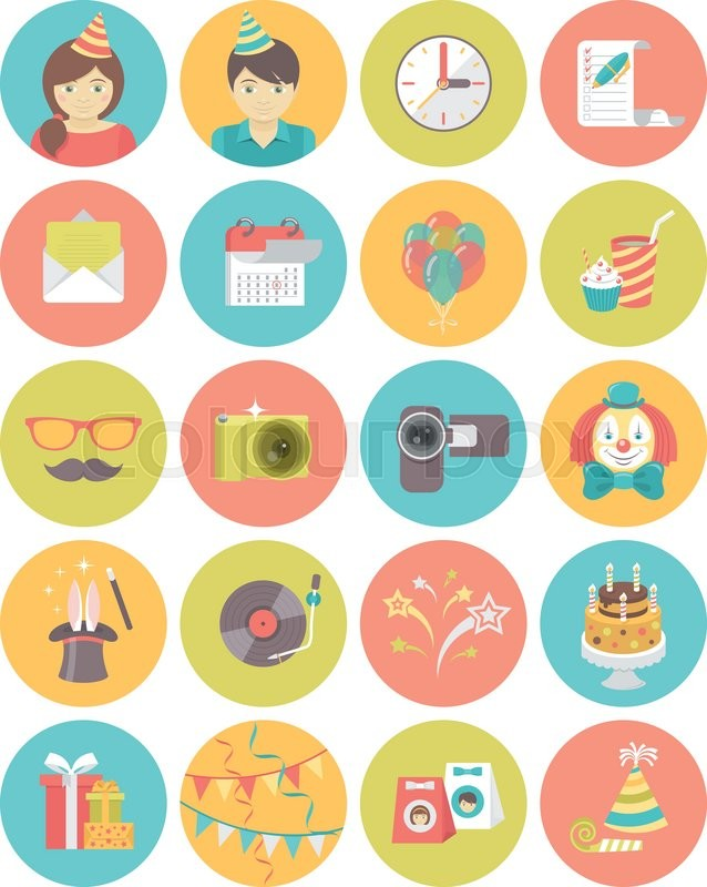 Set Of Modern Flat Style Round Icons Of Kids Birthday Party In