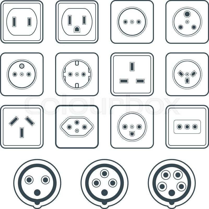 Vector Dark Grey Various Power Socket Input Types Icon Set