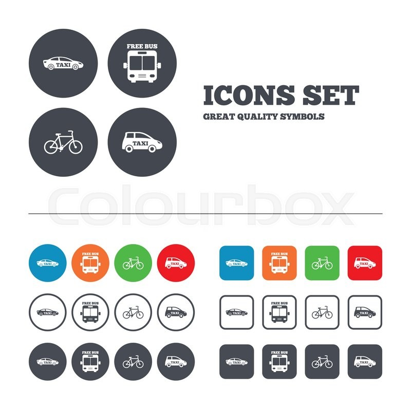 Public transport icons. Free bus, bicycle and taxi signs. Car transport symbol. Web buttons set. Circles and squares templates. Vector, vector