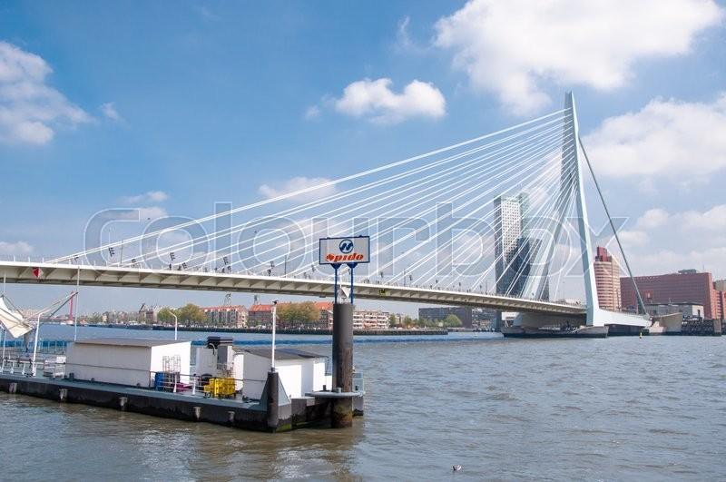 Erasmus bridge in Rotterdam, The Netherlands, and business ...