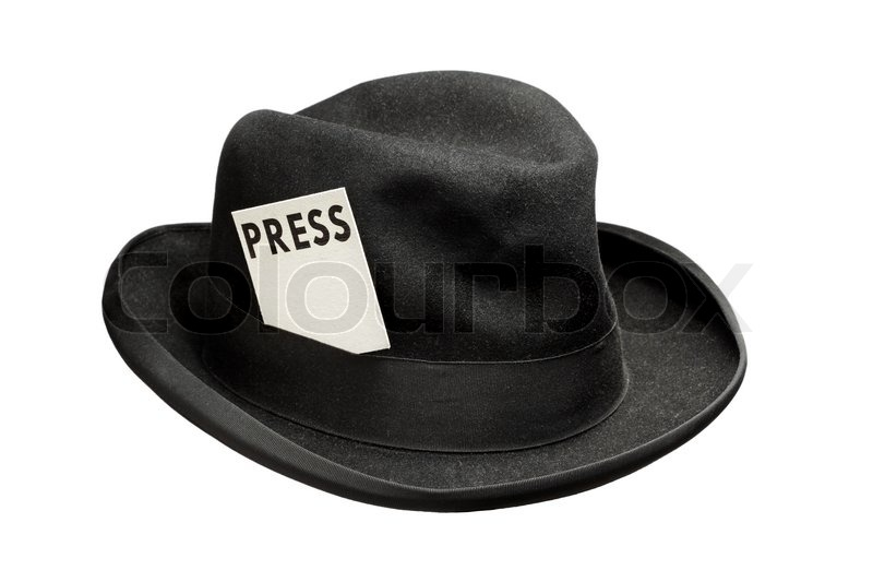 e1e01c37b4ba8 Old fedora felt hat with a press card | Stock image | Colourbox