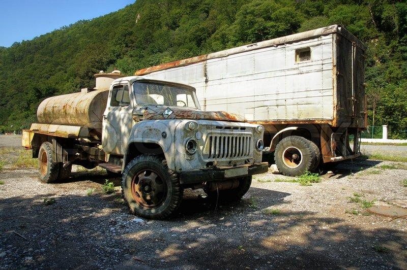 An Old Russian Rusty Trailer Truck