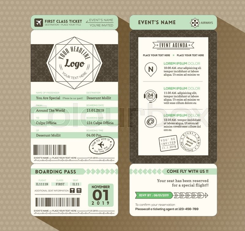 Hipster design Boarding Pass Ticket Event Invitation card vector – Design Tickets Template
