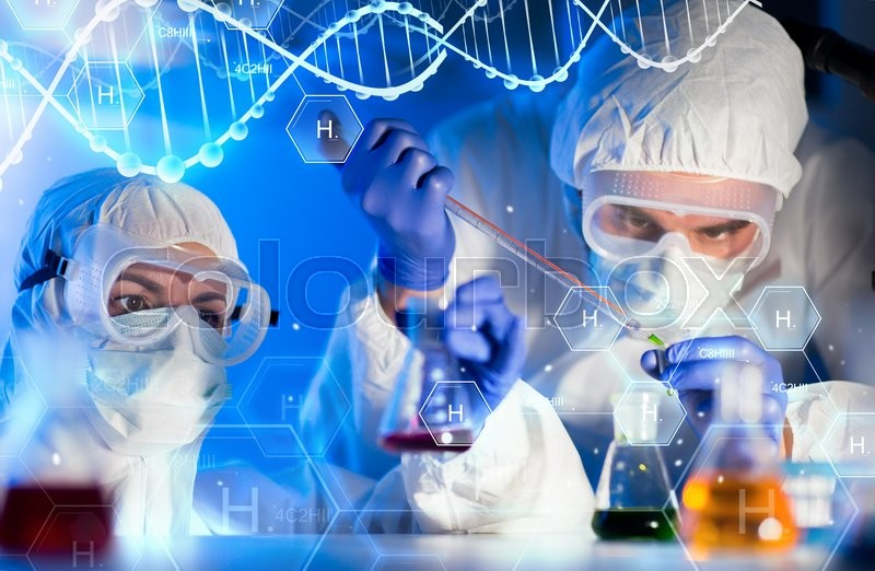 Science, chemistry, biology, medicine and people concept - close up of scientists with pipette and flasks making test in clinical laboratory over hydrogen chemical formula and dna molecule structure, stock photo