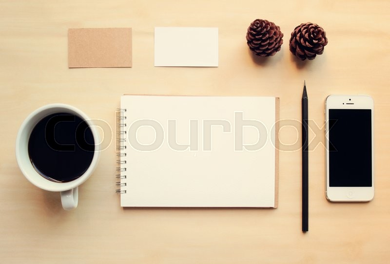 Business branding identity mock up set with retro filter effect, stock photo