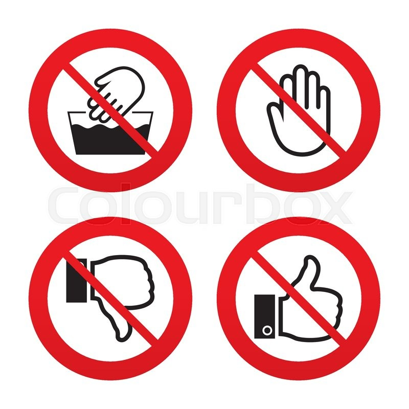 No Ban Or Stop Signs Hand Icons Like And Dislike Thumb Up Symbols