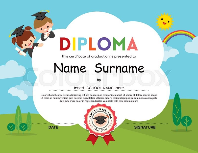 Preschool elementary school kids diploma certificate background preschool elementary school kids diploma certificate background design template vector yadclub Image collections