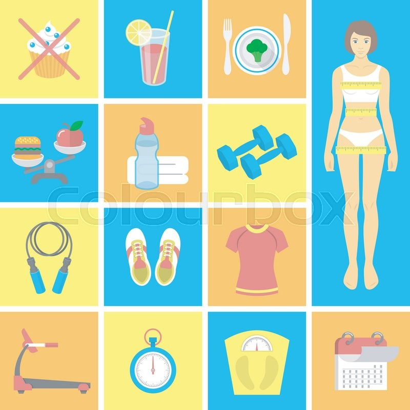 Set Of Vector Flat Icons For Female Fitness Vector Symbols For