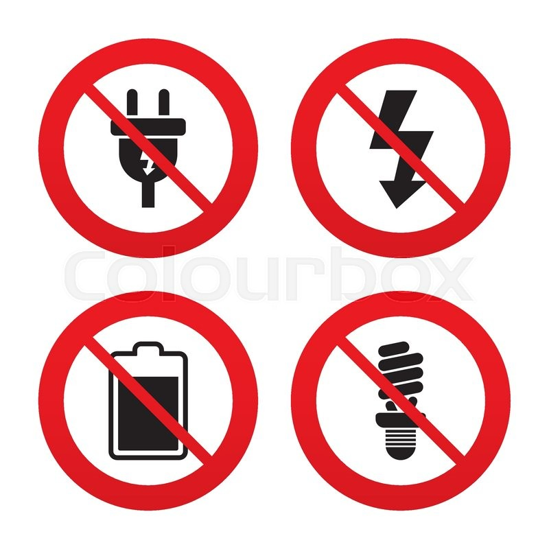 No, Ban or Stop signs. Electric plug icon. Fluorescent lamp and ...