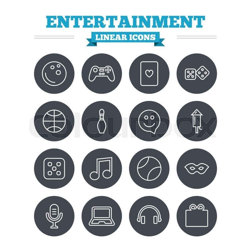 Entertainment Linear Icons Set Game Console Joystick Notebook And