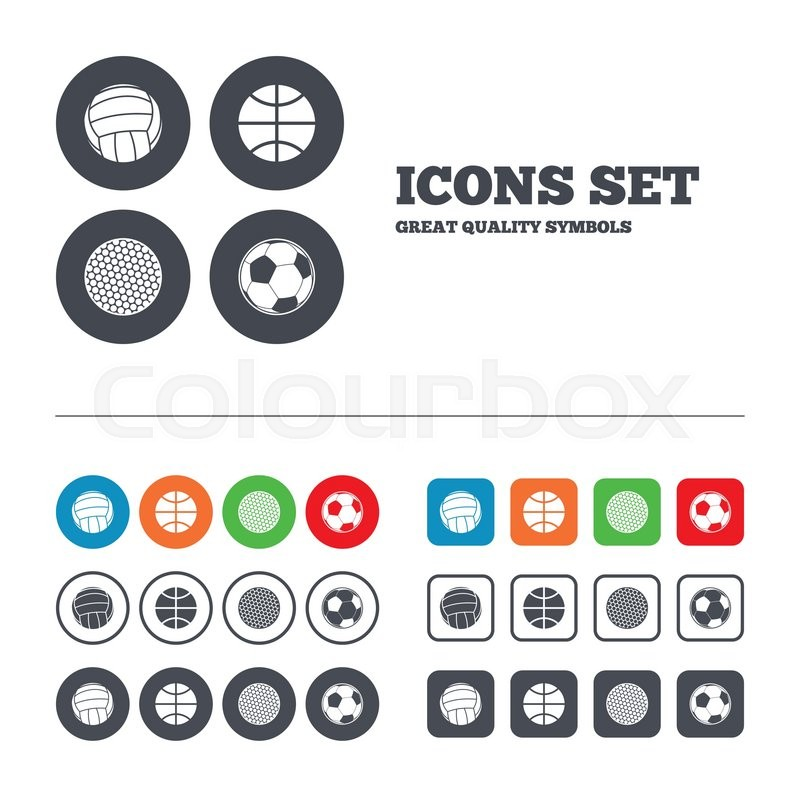 Sport balls icons. Volleyball, Basketball, Soccer and Golf signs. Team sport games. Web buttons set. Circles and squares templates. Vector, vector