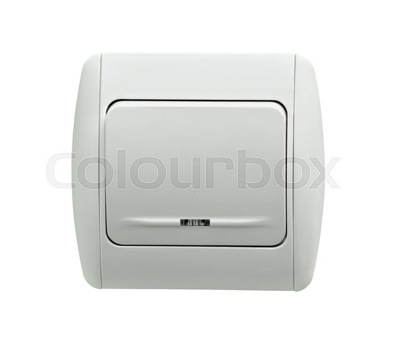 Electrical White Rocker Light Switch On Stock Photo Colourbox