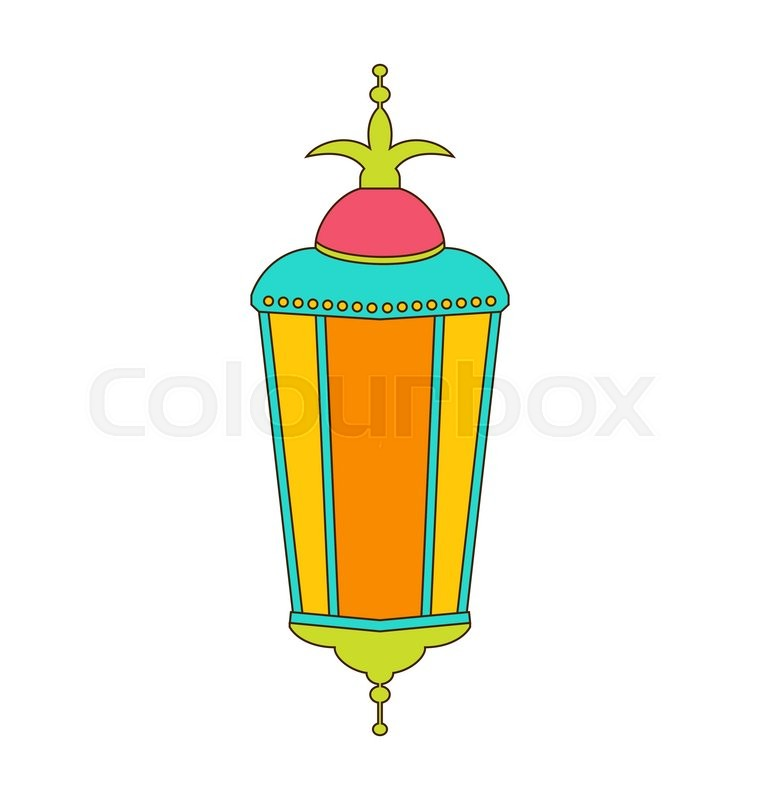 Illustration Arabic Colorful Lamp Isolated On White Background For Ramadan Kareem Outline Style