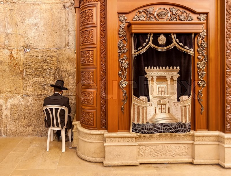 JERUSALEM, ISRAEL   JULY 10, 2014: Carving Wooden Cabinet With Torah  Scrolls And Prayer In Cave Synagogue   A Part Of Famous Western Wall,  Sacred Place In ...