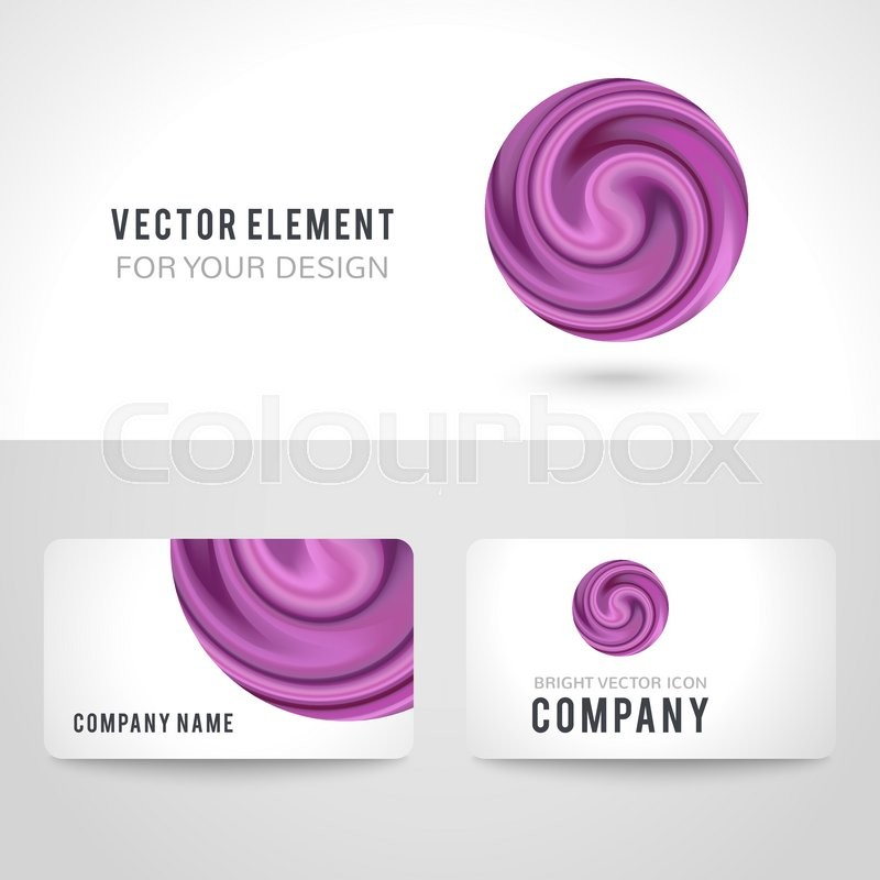 Business card template set, abstract purple circle on white ...