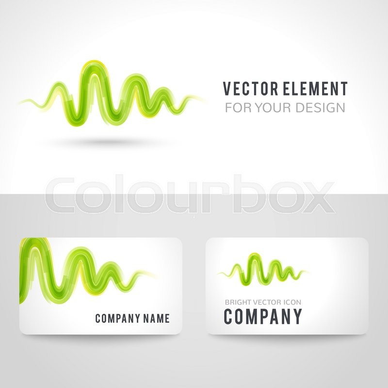 Business Card Template Set Abstract Green Wave On White Background Vector Illustration For Modern Design Corporate Identity The Company