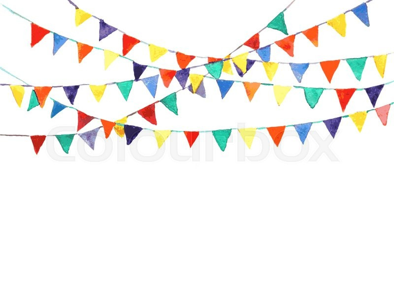 bunting flags made with watercolor vector stock vector colourbox