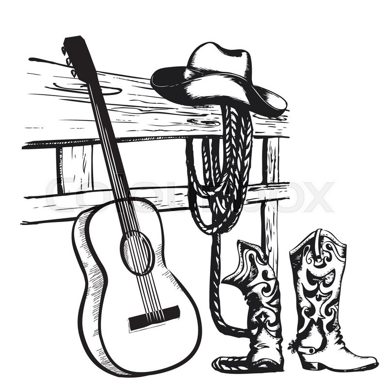 Country Music Wallpaper: Western Country Music Poster With Cowboy Clothes And Music