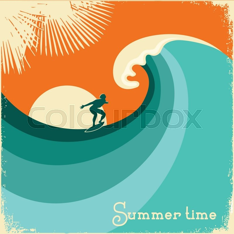 Surfer And Sea Wave.Retro Poster ...