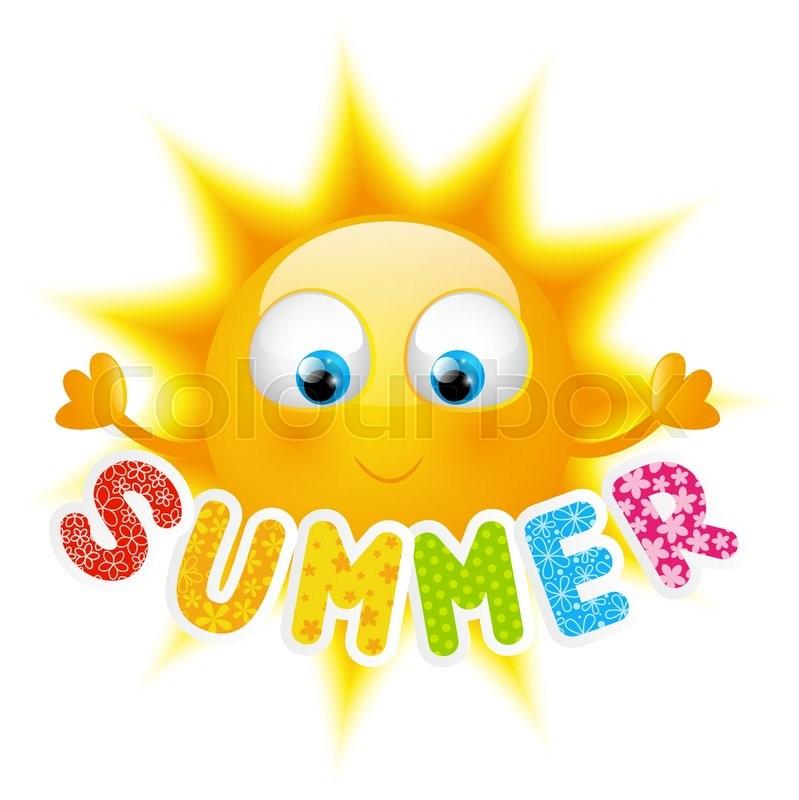 cartoon sun with summer word stock vector colourbox