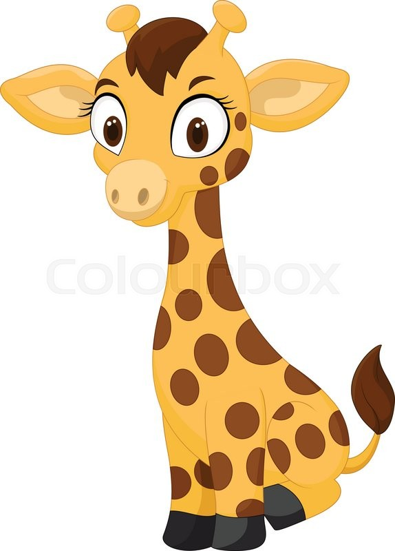 vector illustration of cartoon baby giraffe sitting stock vector rh colourbox com cartoon baby giraffe drawing cartoon baby giraffe head