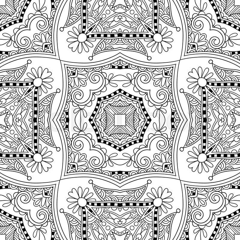 Unique coloring book square page for adults - floral authentic ...