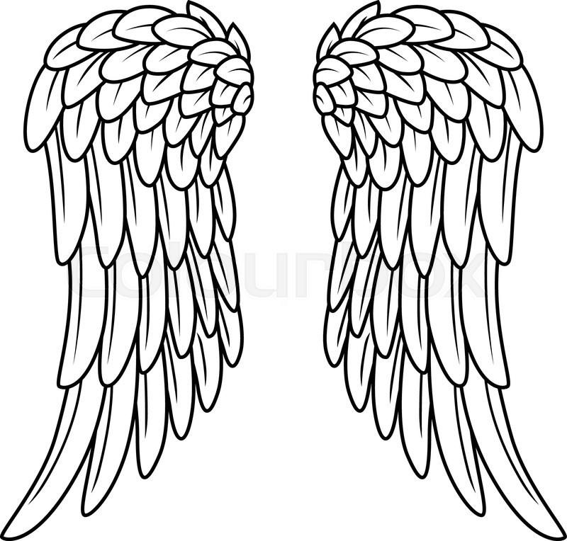 vector illustration of cartoon angel wings stock vector colourbox rh colourbox com cartoon angel wings pictures cartoon angel wings png