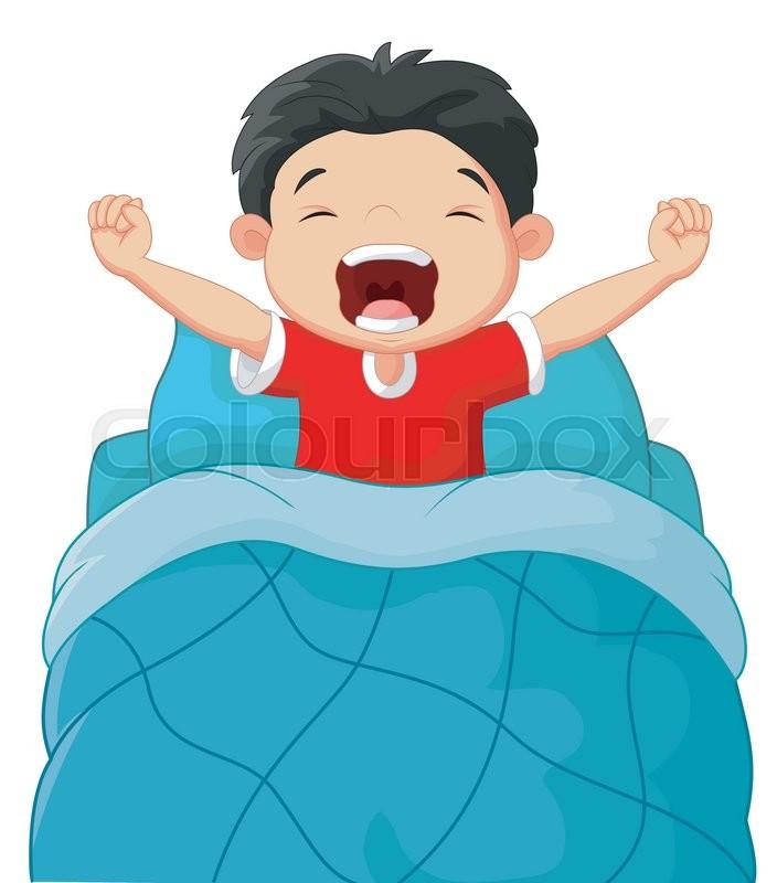Vector Illustration Of Cartoon Children Wake Up Stock