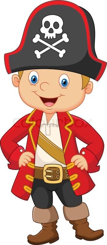 vector illustration of cartoon little boy pirate captain stock rh colourbox com pirate cartoon pictures pirate treasure cartoon images