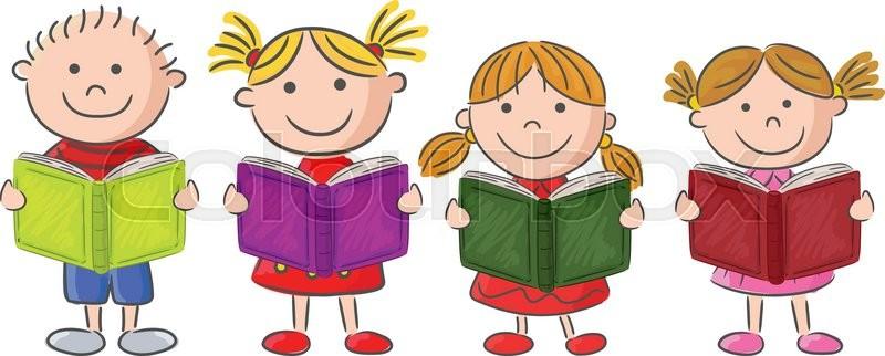 cartoon little kid holding book - Kid Cartoon Pictures