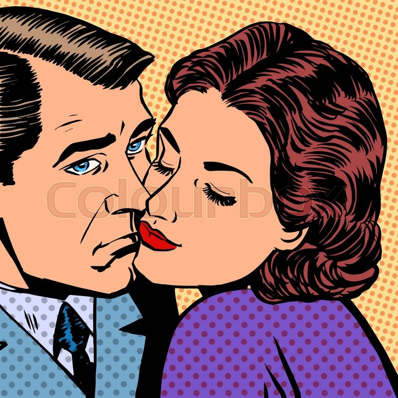 Stock Vector Of Woman Hugging A Sad Man Halftone Style Pop Art Retro Vintage