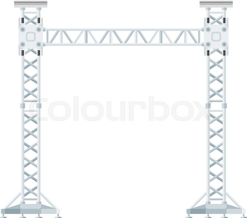 Vector Flat Design Stage Sound Lighting Aluminum Truss Tower Lift Construction Illustration