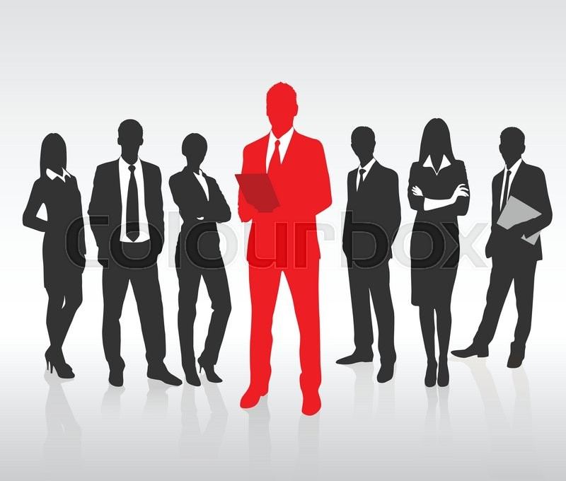 red businessman silhouette black business people group team concept
