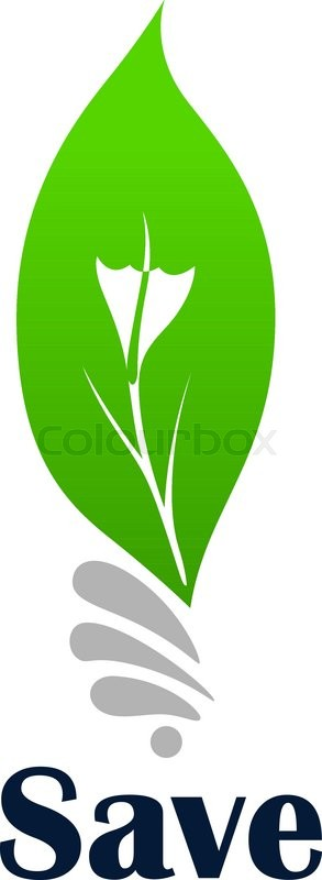 light bulb symbol with green leaf for ecology or save